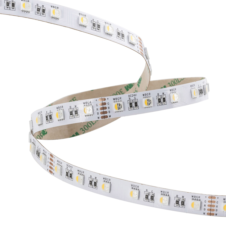 SMD5050 4in1 60leds/m DC24V LED strips(Non-waterproof)