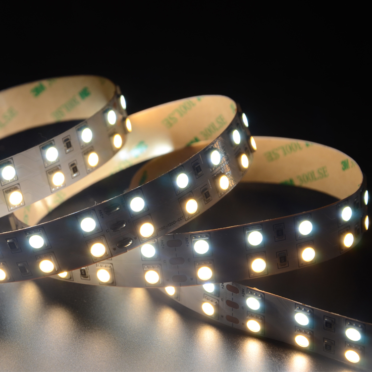 SMD5050 120leds/m DC12V CCT LED strips(Non-waterproof)