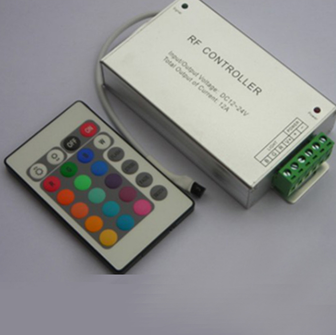DC 12V/24V RGB Controller and 24Key Remote Controller, with Aluminum Shell