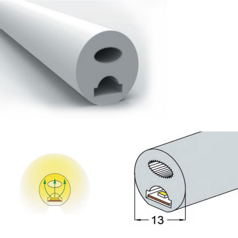 D13 Silicone Neon Tube Flex Strip SMD2835 120leds/m 5mm