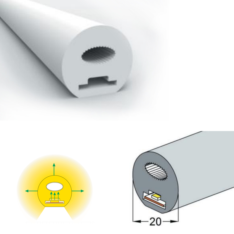 D20 Silicone Neon Tube Flex Strip SMD2835 120leds/m10mm